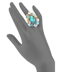Alexis Bittar - Blue Elements Cholulian Turquoise, White Quartz & Chrysoprase Olmeca Cluster Ring - Lyst