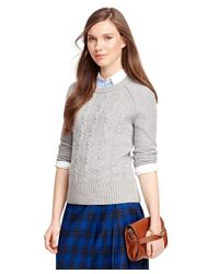 Brooks Brothers | Gray Cashmere Cable Sweater | Lyst