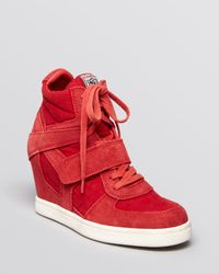 Ash | Red Lace Up Wedge Sneakers Cool | Lyst