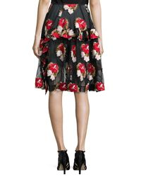 Simone Rocha - Black Embroidered Tulle Skirt - Lyst