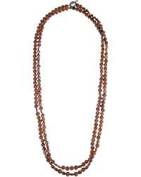 Brunello Cucinelli Metallic Copper Hematite Beaded Necklace - For Women
