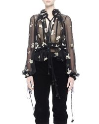 Chloé - Black Sheer Floral-embroidered Blouse - Lyst