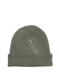Golden Goose Deluxe Brand - Green Zip Pocket On Wool Knit Beanie Hat for Men - Lyst
