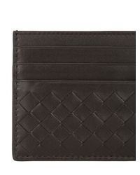 Bottega Veneta | Black Intrecciato Nappa Leather Card Holder | Lyst