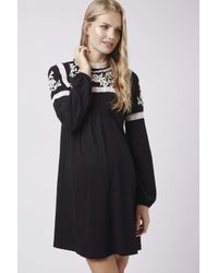 TOPSHOP - Black Maternity Embroidered Dress - Lyst