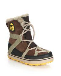 Sorel - Brown Glacy Explorer Faux Fur-trimmed Suede & Canvas Boots - Lyst