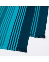 Paul Smith - Sky Blue Graded-Stripe Silk-Blend Scarf for Men - Lyst
