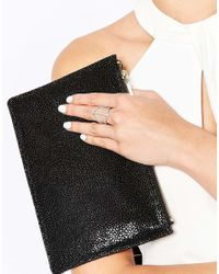 Lipsy | Metallic Fine Pave Link Ring | Lyst
