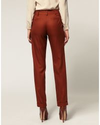 ASOS - Brown Low Slung Trouser With Peg Leg - Lyst