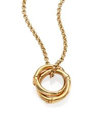 John Hardy | Metallic Bamboo 18k Yellow Gold Small Round Interlinking Pendant Necklace | Lyst