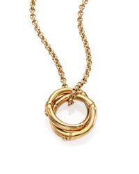 John Hardy   Metallic Bamboo 18k Yellow Gold Small Round Interlinking Pendant Necklace   Lyst