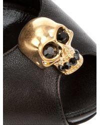 Alexander McQueen - Black Skull Peep Toe Pumps - Lyst