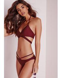 Missguided - Purple Strappy Bikini Set Burgundy - Lyst