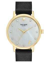 kate spade new york | Black 'metro - Monogram' Leather Strap Watch | Lyst