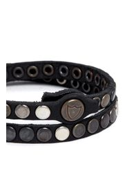 HTC Hollywood Trading Company - Metallic Studded Double Wrap Bracelet for Men - Lyst