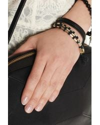 Isabel Marant - Metallic Set Of Two Leather Cotton and Goldtone Bracelets - Lyst