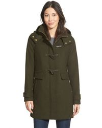 Ellen Tracy | Black Toggle Wool Blend Twill Duffle Coat | Lyst