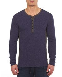 William Rast | Blue Two-tone Henley Pullover for Men | Lyst