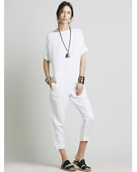 Free People | White Womens Shortsleeve Bareback Playsuit | Lyst