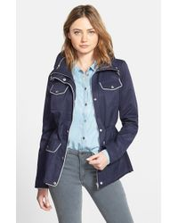Guess | Blue Contrast Trim Four Pocket Anorak | Lyst