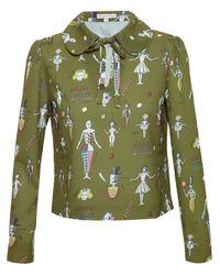 Olympia Le-Tan - Green Nutcracker Ballet Print Blouse - Lyst