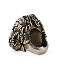 Alexander McQueen - Metallic Ivy And Skull Cocktail Ring - Lyst