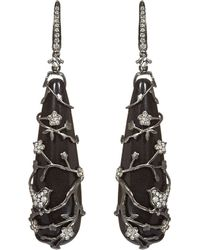 Annoushka | Black Alter Ego Rhodium-plated White-gold, Diamond And Ebony Long Drop Earrings | Lyst