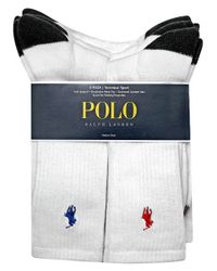 Polo Ralph Lauren | White Heel Toe And Arch Support Crew Socks Pack for Men | Lyst