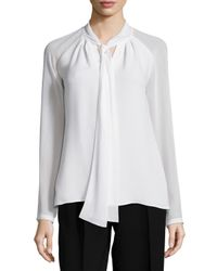 Lafayette 148 New York - White Louise Tie-neck Silk Blouse - Lyst