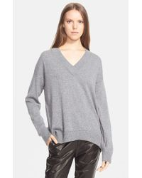 VINCE | Gray Pointelle Trim V-Neck Sweater | Lyst
