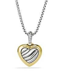 David Yurman | Metallic Cable Heart Pendant On Chain | Lyst