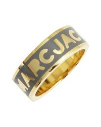 Marc By Marc Jacobs | Metallic Goldtone And Gunmetal Enamel 'classic Logo Band' Ring | Lyst