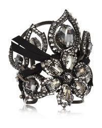 Lanvin | Black Floral Crystal Cuff | Lyst