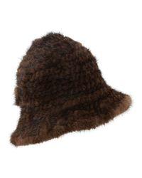 Belle Fare - Brown Mink Fur Structured Bucket Hat - Lyst