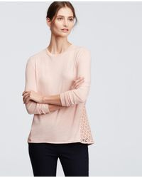 Ann Taylor | Pink Lace Back Jersey Top | Lyst