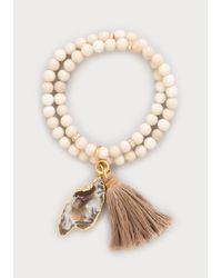 Bebe - White Shell Bead Stretch Bracelet - Lyst
