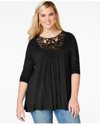 American Rag | Black Plus Size Crochet-trim Top | Lyst