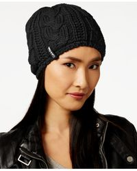 Calvin Klein | Black Performance Cable Faux Sherpa Lined Beanie | Lyst