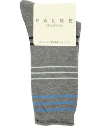 Falke - Gray Stripe Socks - Lyst