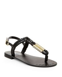 Steve Madden | Black Braidie Braided Rope Thong Sandals | Lyst
