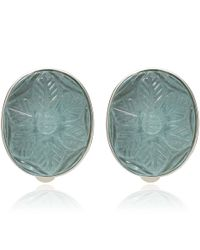 Stephen Dweck | Blue Silver Carved Aquamarine Flower Earrings | Lyst