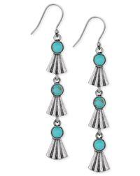 Lucky Brand | Blue Silver-tone Stone Dangle Earrings | Lyst