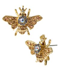 Betsey Johnson - Metallic Queen Bee Goldtone Stud Earrings - Lyst