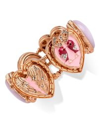 Betsey Johnson | Pink Rose Gold-tone Swan Stretch Bracelet | Lyst