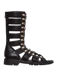 Balmain | Black Leather High Top Gladiator Sandals | Lyst