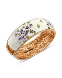 Betsey Johnson - White Floral Printed Hinged Bangle Bracelet - Lyst