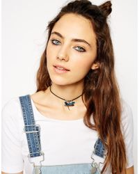 ASOS | Blue 90s Shell Dragonfly Choker Necklace | Lyst