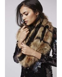 TOPSHOP - Brown Gric Faux Fur Snood - Lyst