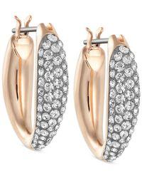 Swarovski - Metallic Gold-tone Small Pavé Hoop Earrings - Lyst