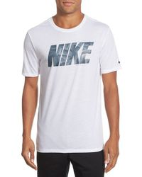 Nike | White 'block Knurling' Dri-fit Graphic T-shirt for Men | Lyst